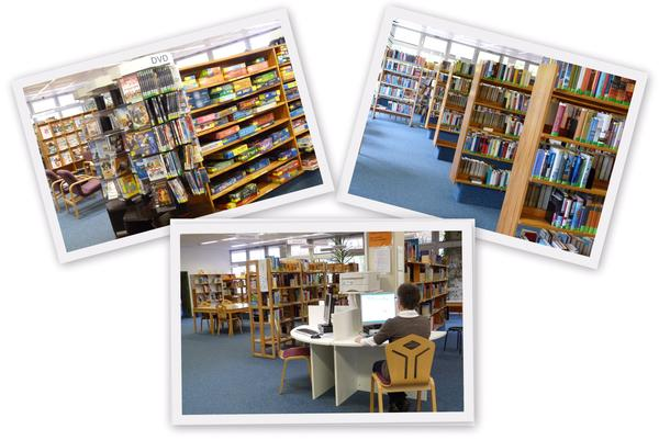 Collage Unser Angebot Bücherei