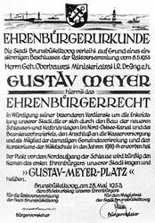 Ehrenbürgerurkunde Gustav Meyer